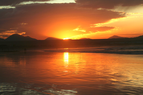 Famara Beach sunset